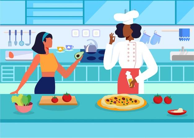 Cocina master class plana ilustración vectorial