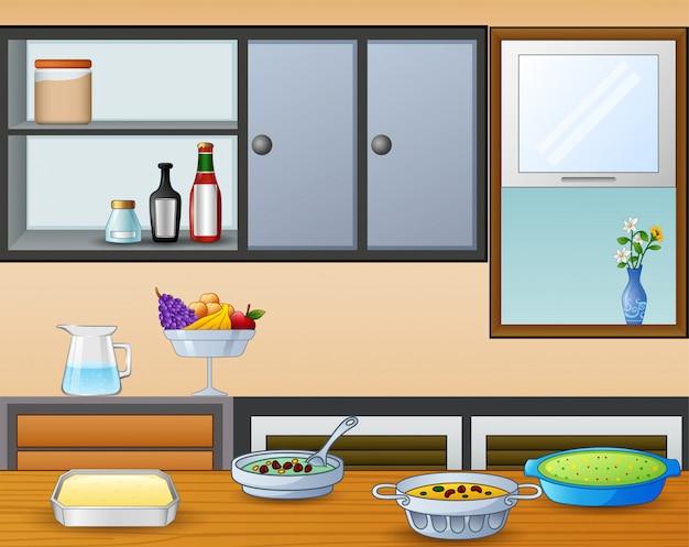 Cocina en la mesa del comedor en la cocina.