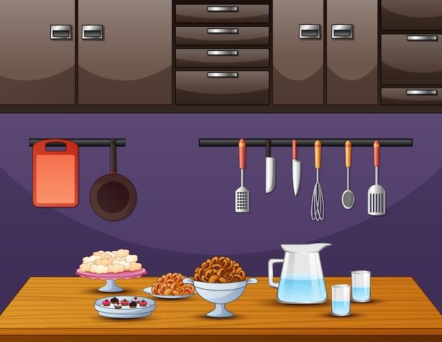 Cocina en la mesa de comedor en la cocina