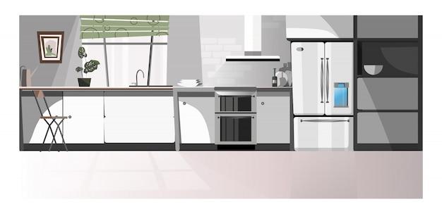 Cocina moderna con ilustración de electrodomésticos.