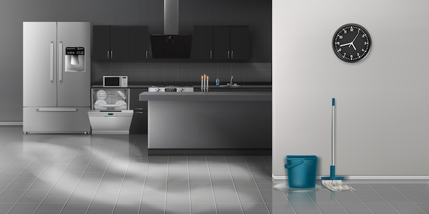 Cocina moderna limpieza fondo realista