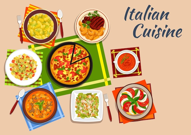 Cocina nacional italiana con pizza margarita rodeada de ensalada de tomate y mozzarella y ñoquis de patata