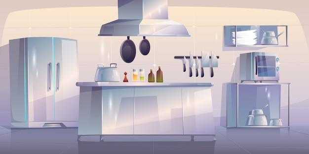 Cocina en restaurante interior vacío con suministros