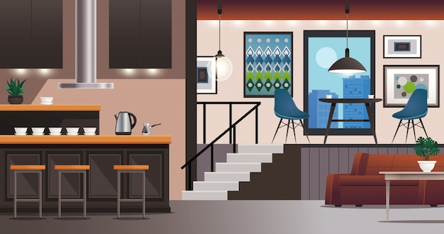 Cocina sala de estar diseño de interiores