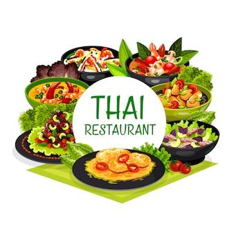 Cocina tailandesa tailandia prepara sopa de pescado con leche de coco, tom yam kung y arroz con camarones fritos, lomo de cerdo con maní.