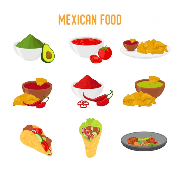 Cocina tradicional mexicana, tacos, nachos, burritos