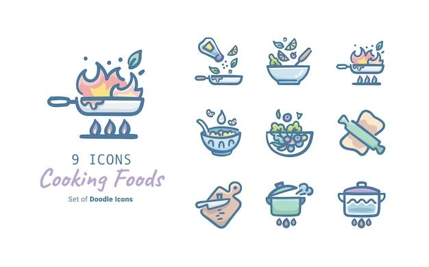 Cocinar alimentos doodle icon collection