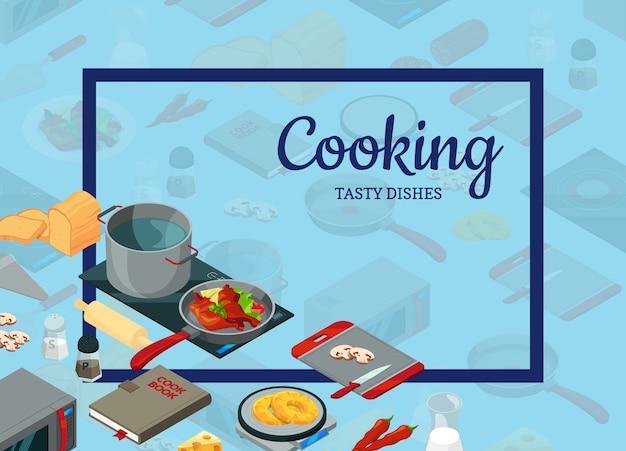 Cocinar alimentos objetos isométricos