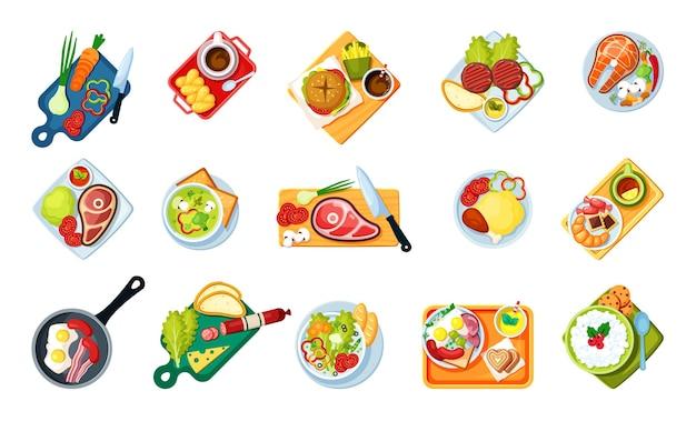 Cocinar alimentos con platos vista superior. sabrosos menús de comida rápida