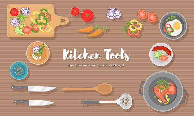 Cocinar alimentos saludables en la cocina. comida útil en mesa de madera. alimentación saludable, vegetales. ilustración de la vista superior del utensilio de cocina, tabla de cortar con cuchillo, platos, platos y diferentes alimentos.