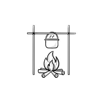 Cocinar en caldero en el icono de doodle de contorno dibujado de mano de fogata. concepto de viajes, camping y cocina al aire libre