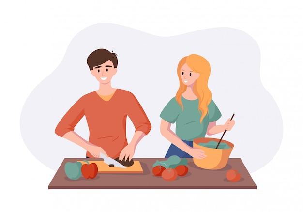 Cocinar una cena saludable juntos de frutas y verduras. hombre y mujer pareja preparando la comida aislada en blanco en estilo plano. concepto