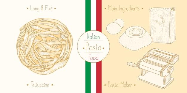 Cocinar comida italiana fettuccine pasta, ingredientes y equipo