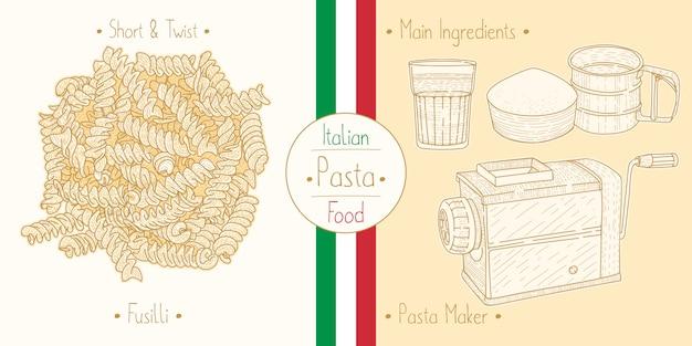 Cocinar comida italiana en forma de pasta fusilli, ingredientes y equipo