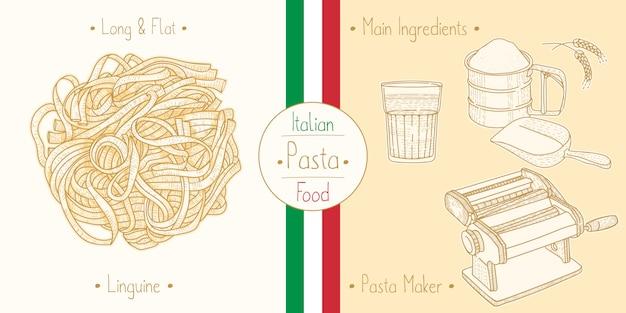 Cocinar comida italiana linguine pasta, ingredientes y equipo