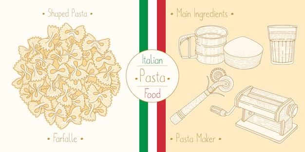 Cocinar comida italiana pajarita farfalle pasta, ingredientes y equipo
