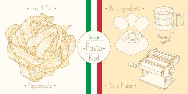 Cocinar comida italiana pappardelle pasta, ingredientes y equipo