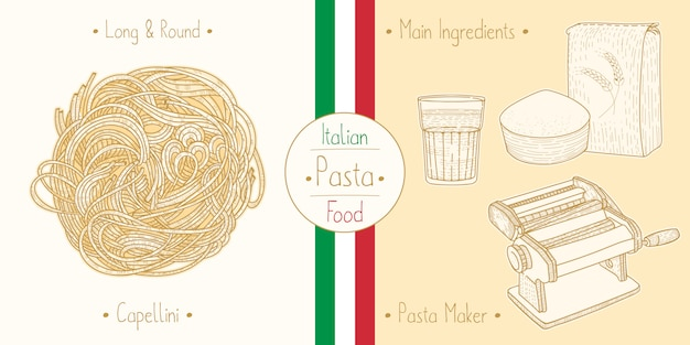 Cocinar comida italiana pasta de cabello de ángel tipo sphagetti capellini, ingredientes y equipo