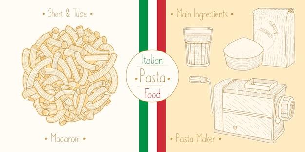 Cocinar comida italiana pasta en forma de codo aka macarrones, ingredientes y equipo