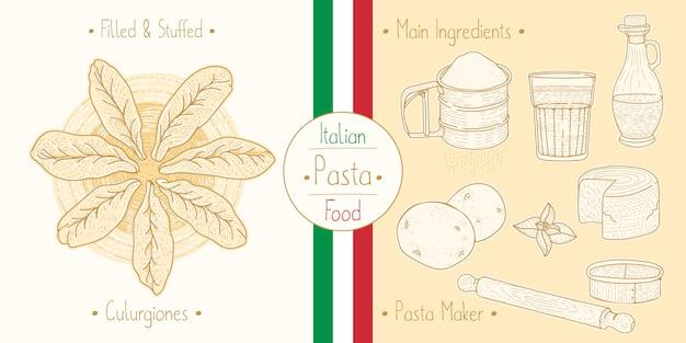 Cocinar comida italiana rellena de pasta culugrione con relleno, ingredientes y equipo