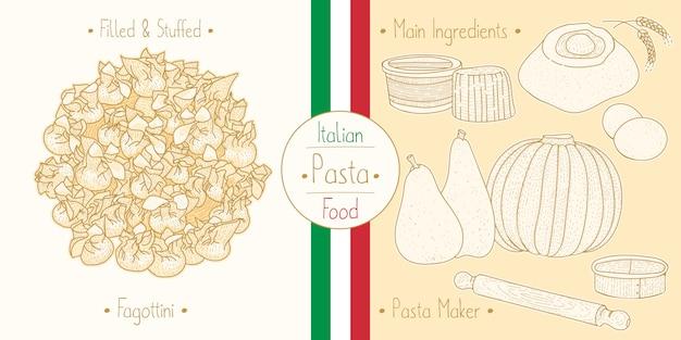 Cocinar comida italiana rellena de pasta fagottini con relleno, ingredientes y equipo