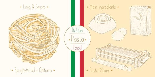 Cocinar comida italiana spaghetti alla chitarra, ingredientes y equipo
