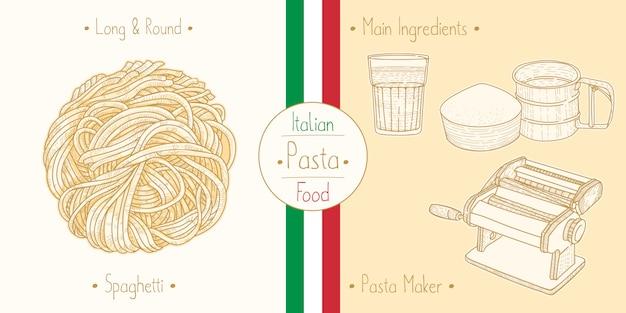 Cocinar comida italiana sphagetti pasta capellini, ingredientes y equipo