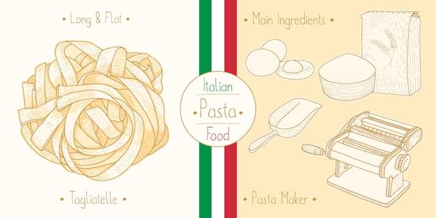 Cocinar comida italiana tagliatelle pasta, ingredientes y equipo