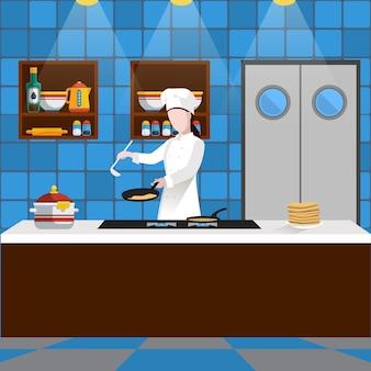 Cocinar la composición de la gente con el hombre que está cocinando panqueques en la cocina de un restaurante