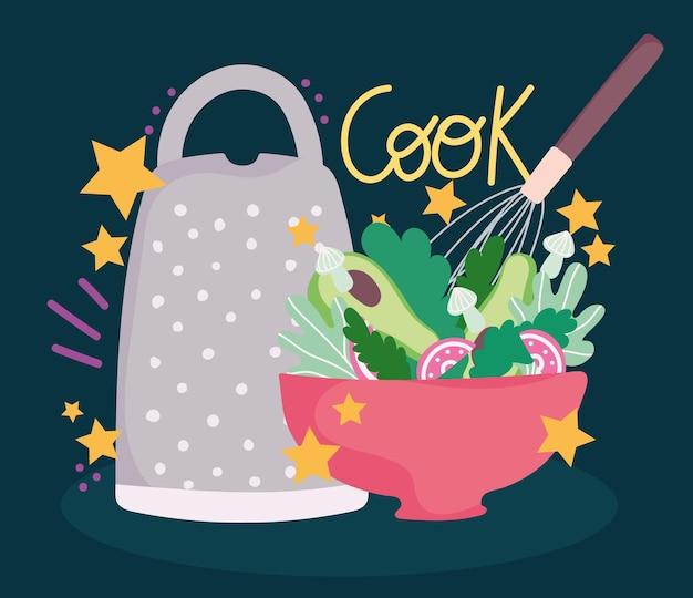 Cocinar la ensalada en un recipiente y un utensilio rallador en la ilustración de letras de estilo de dibujos animados