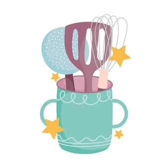 Cocinar, espátula skimmer y batidora manual en la ilustración de la taza