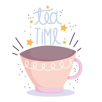 Cocinar, hora del té manuscrita y taza, ilustración de estilo de dibujos animados