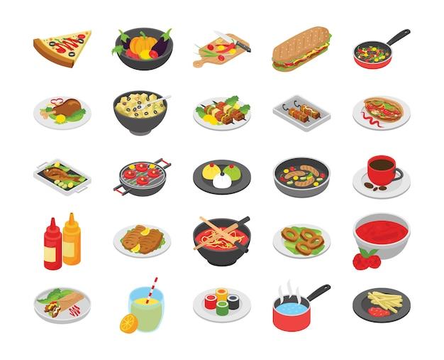Cocinar iconos planos