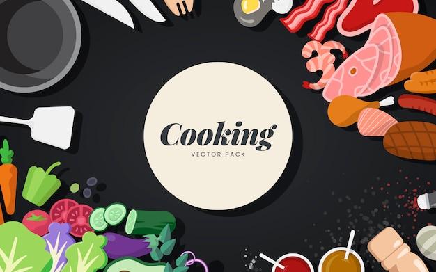 Cocinar ingredientes y herramientas conjunto de vectores