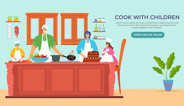 Cocinar junto con la hija, madre, padre, personaje, ilustración