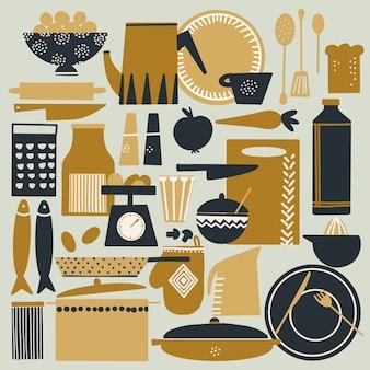 Cocinar a mano conjunto ilustración dibujada