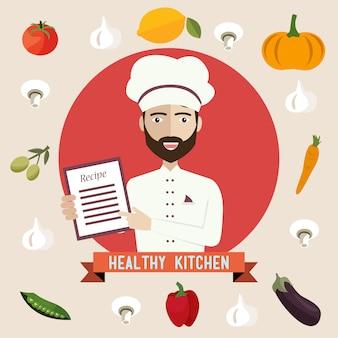 Cocinar mostrando receta para comida saludable.