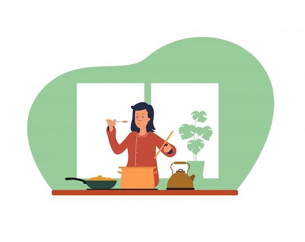 Cocinar mujer en la cocina