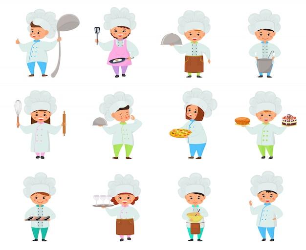 Cocinar niño niños personajes niño niña chef cocinar comida y hornear galletas ilustración infantil conjunto de cocina
