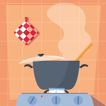 Cocinar con olla de cocina en estufa
