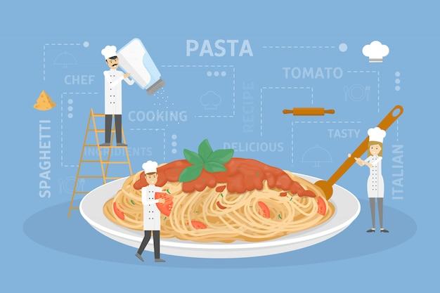 Cocinar pasta gigante.