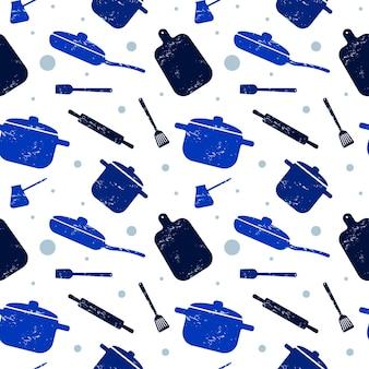 Cocinar de patrones sin fisuras en azul utensilios de cocina para el diseño de envases de papel de fondo