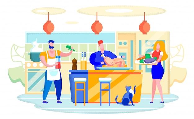 Cocinar pavo en casa cocina concepto plano