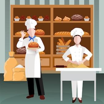 Cocinar personas composición plana