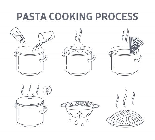 Cocinar sabrosa pasta para la instrucción de la cena.