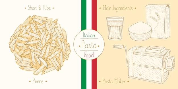 Cocinar tubo de comida italiana pasta penne, ingredientes y equipo