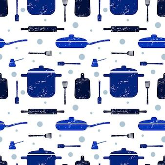 Cocinar utensilios de cocina de patrones sin fisuras en color azul para el fondo de papel de diseño de envases