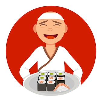 Cocine al maestro del sushi con un plato de rollos y sushi con los colores de fondo de la bandera japonesa.