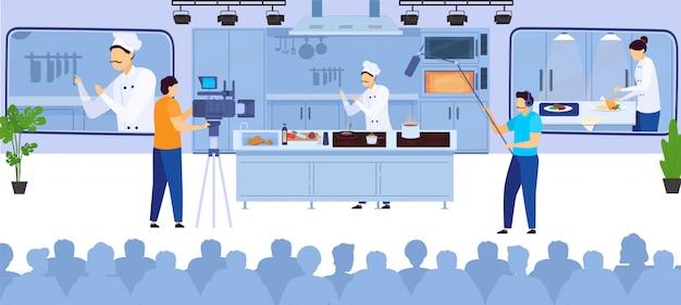 Cocine en línea el blog culinario de grabación de video chef de cocina en internet y operadores con ilustración de equipos de video.
