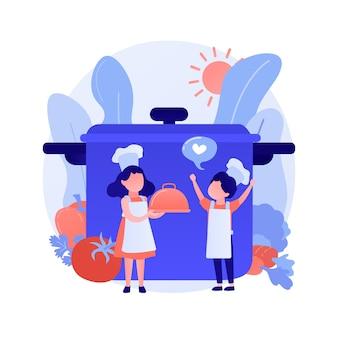 Cocine con sombrero sosteniendo deliciosos postres. magdalenas de zanahoria tradicionales, muffins de verduras, deliciosos productos de panadería. personaje de dibujos animados de chef. ilustración de metáfora de concepto aislado de vector